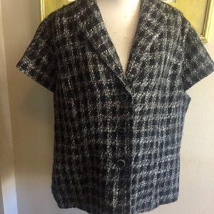Coldwater Creek short sleeve jacket black tweed 22